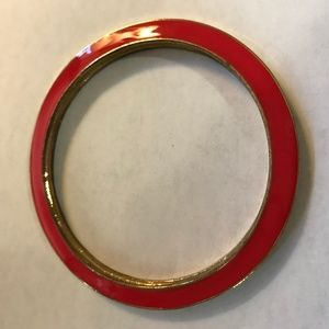 Reversible Red Cream Enamel Bangle Bracelet